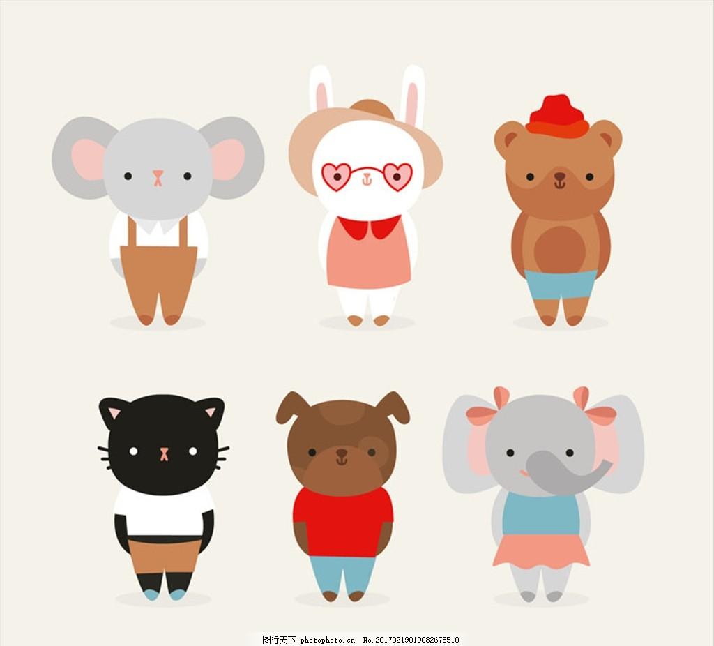6款可爱着装小动物矢量素材 猫 兔子 狗熊 大象