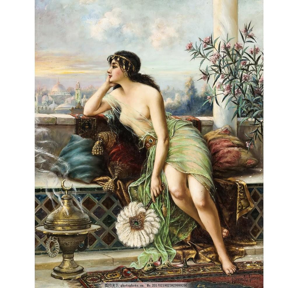 宫廷油画 欧洲油画 世界名画 创意油画 玄关壁画 复古壁纸 风景画装饰