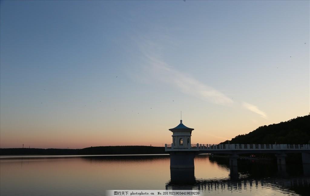 净月晚风塔 净月 净月潭 净月塔 塔倒影 水塔 摄影 自然景观 山水风景