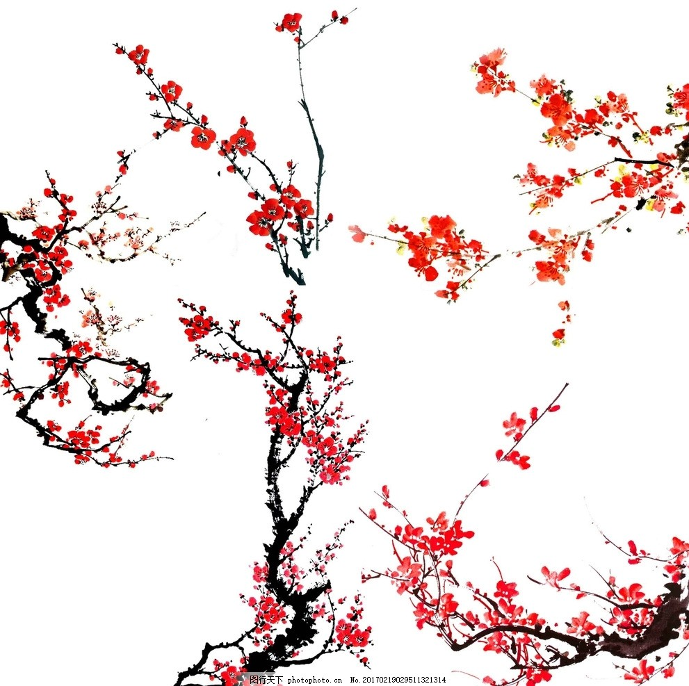 矢量花卉 国画梅花 中国风 古画梅花 梅花中国元素 中国风素材 水彩