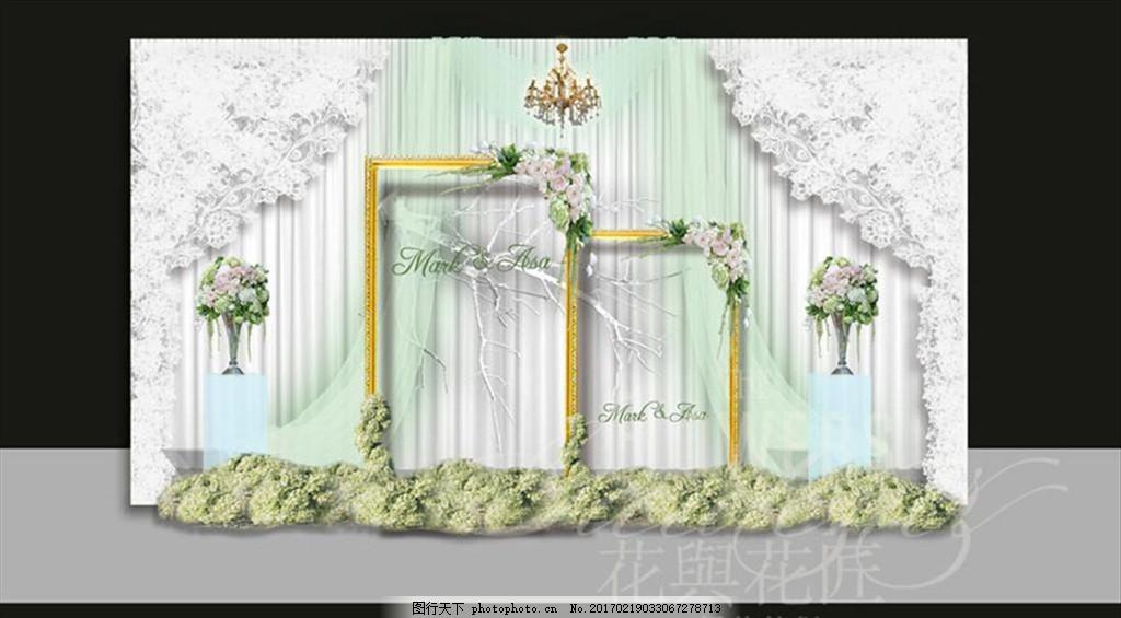 白色浪漫森系婚礼迎宾区