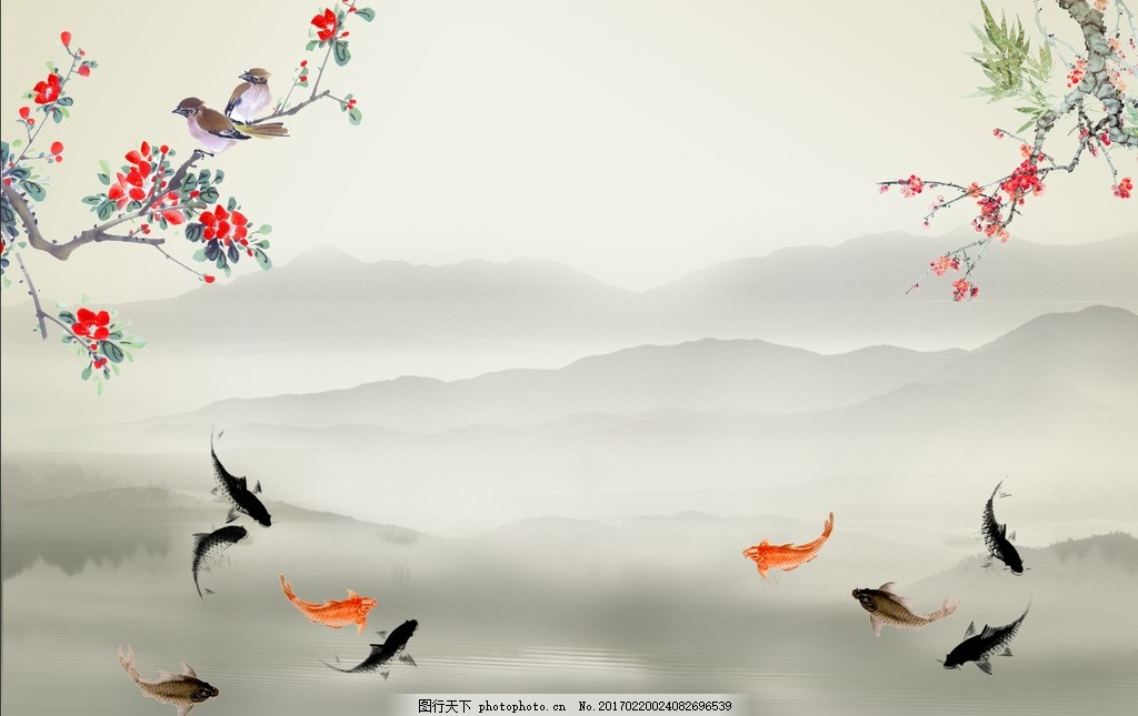 水墨山水花鸟九鱼图中式壁画 山水画 工笔花鸟 风景画 水墨画 水墨