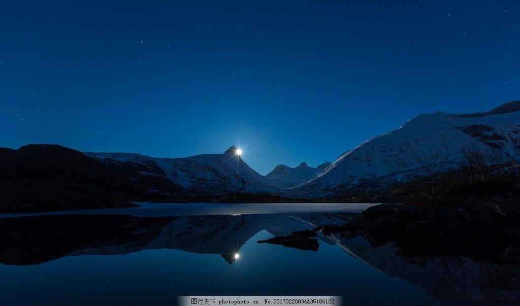 大山夜景,雪山 高山 夜晚 风景 摄影 自然风景 高清图