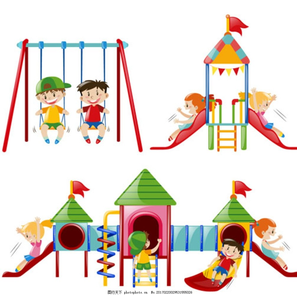 卡通儿童节游乐场里的孩子