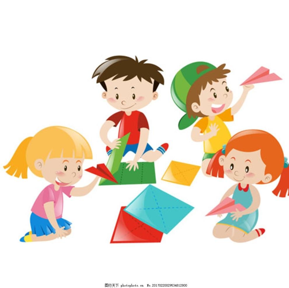 卡通儿童节折纸飞机的孩子