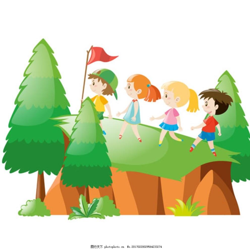 卡通儿童节爬山的孩子