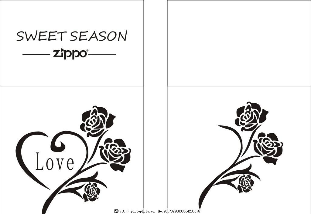 黑白图案 玫瑰花 爱心 love 情人节 设计 其他 图片素材 cdr