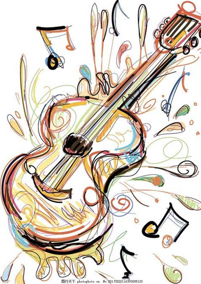 手绘吉他 手绘 吉他 音乐 矢量 彩绘 设计 设计 底纹边框 条纹线条