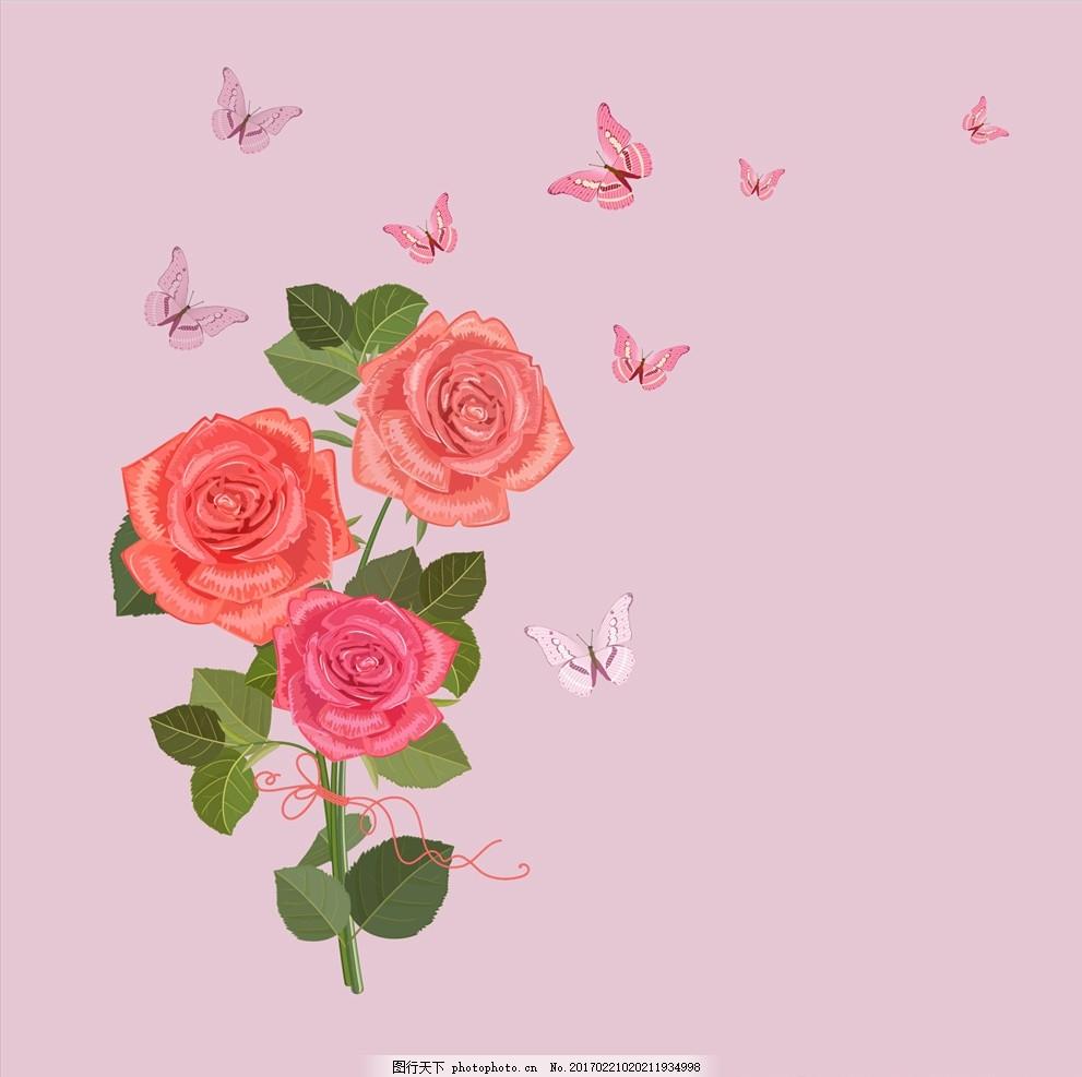 玫瑰花朵手绘背景 玫瑰花 花 花儿 花朵 蝴蝶 手绘 彩铅 手绘画 植物