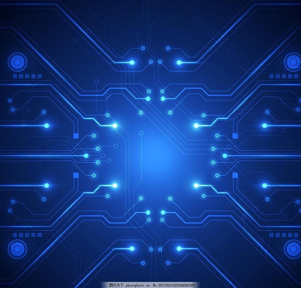 蓝色电路板背景