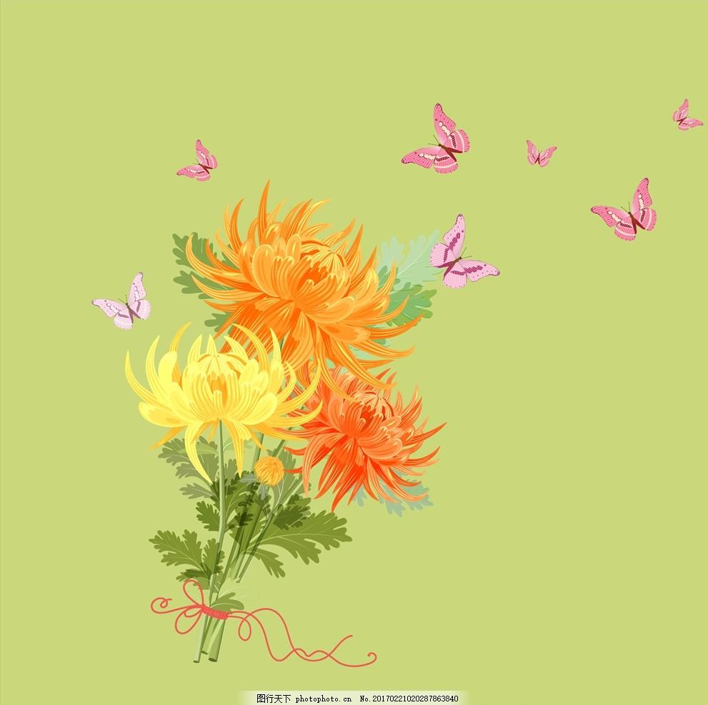 花朵 蝴蝶 手绘 彩铅 手绘画 植物花草 黄色菊花 橙色菊花 彩色背景