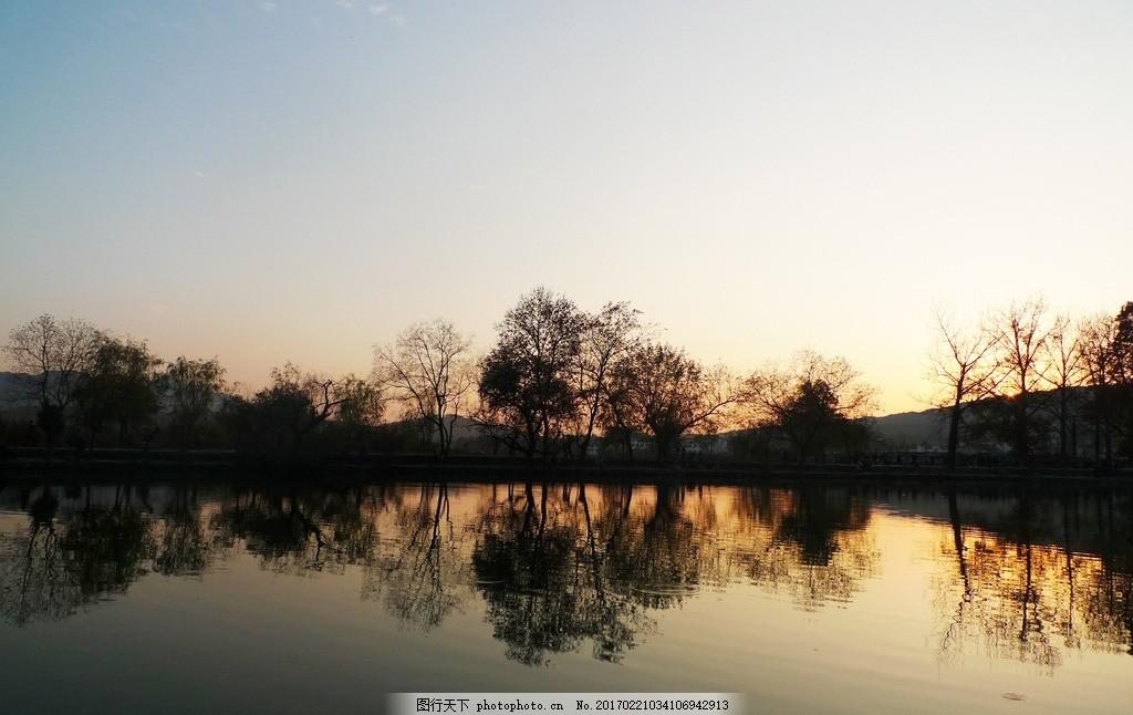 宏村早晨 晨曦 早上 黄昏 美丽夕阳 剪影 逆光 倒影 风景 摄影