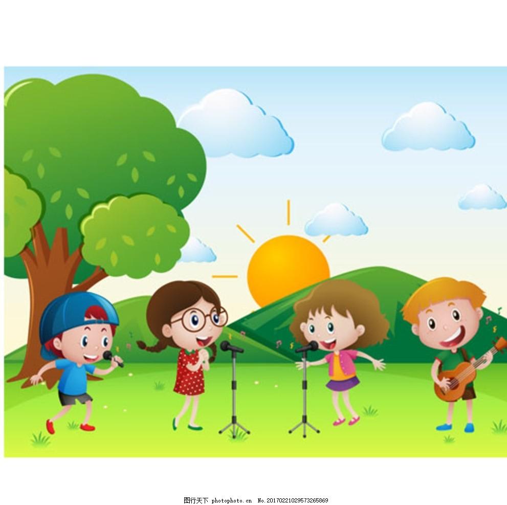 卡通儿童节唱歌的孩子