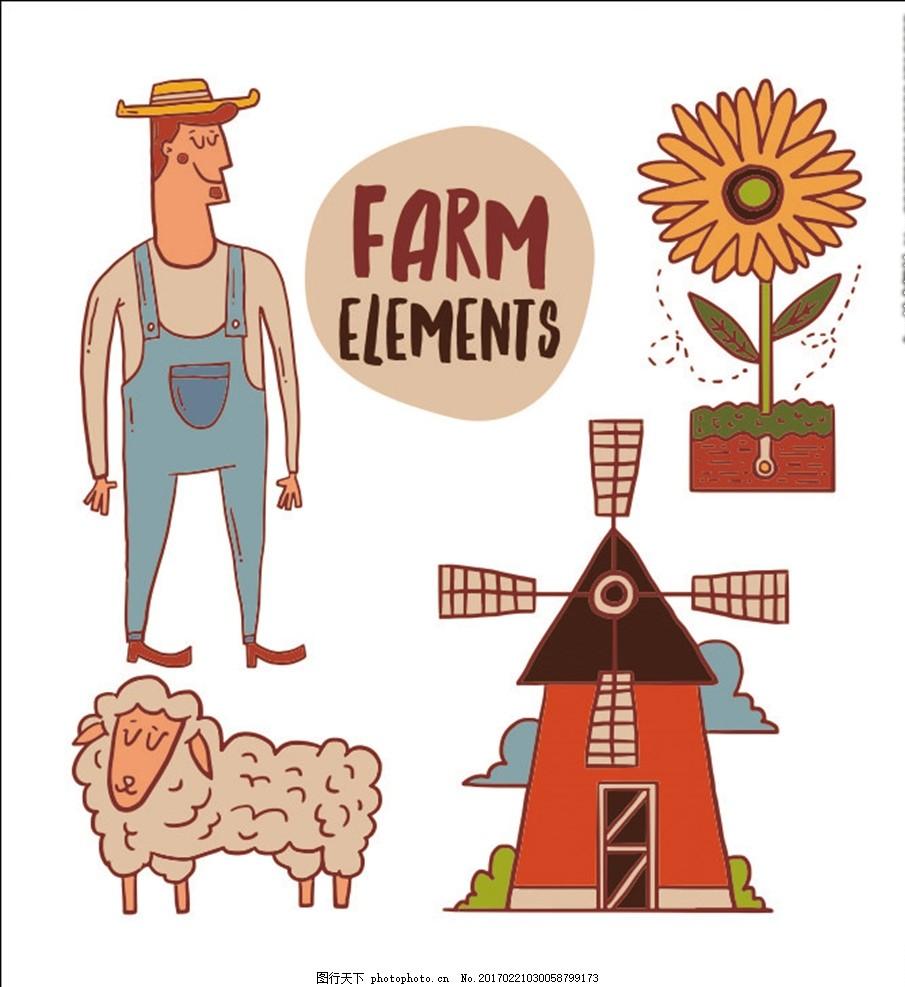 农场风景 农场风光 农场线条 田园线条 田园素描 西方田园 欧式田园