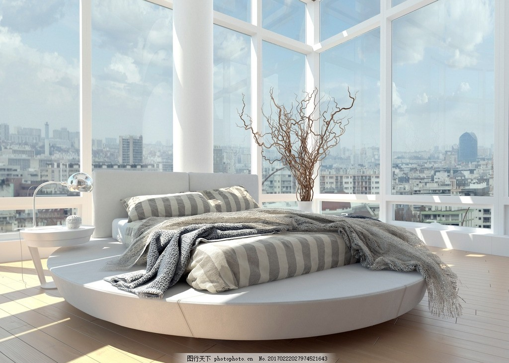 唯美 炫酷           简约 欧式 浪漫 白色系 大床 木地板 设计 环境