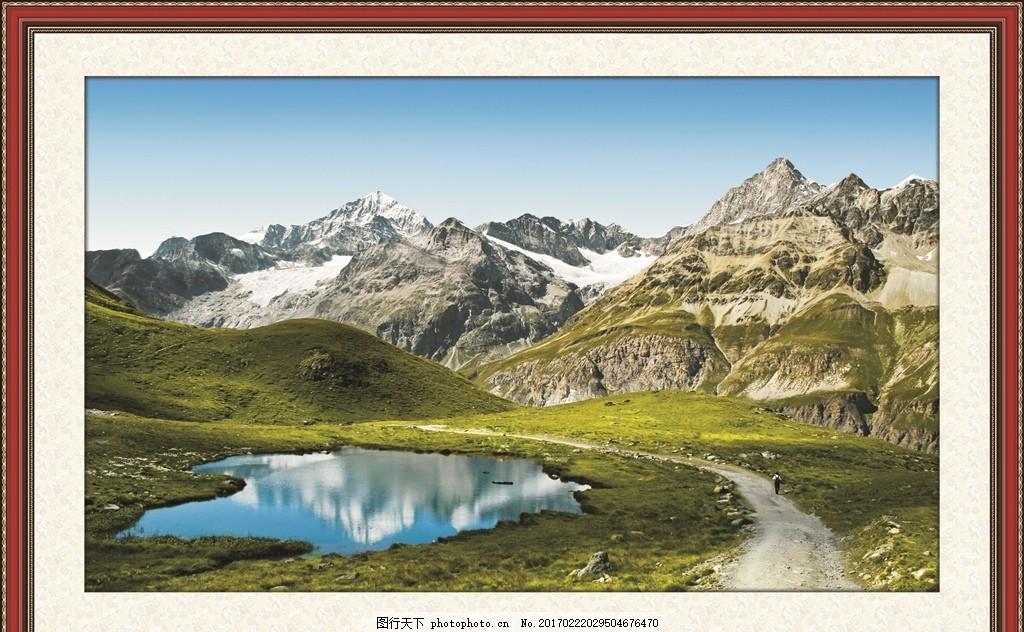 宽幅山水画 山水风景画 风景画 油墨画 边框 相框 画框 自然风景 江南