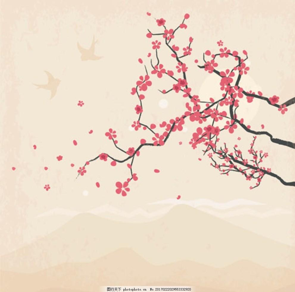 手绘水墨燕子樱花插图