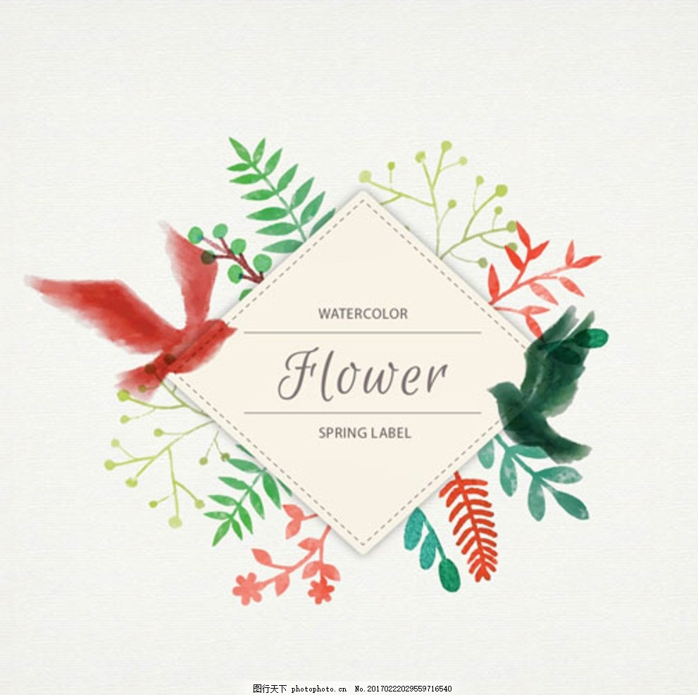 手绘水彩春季花鸟菱形框架