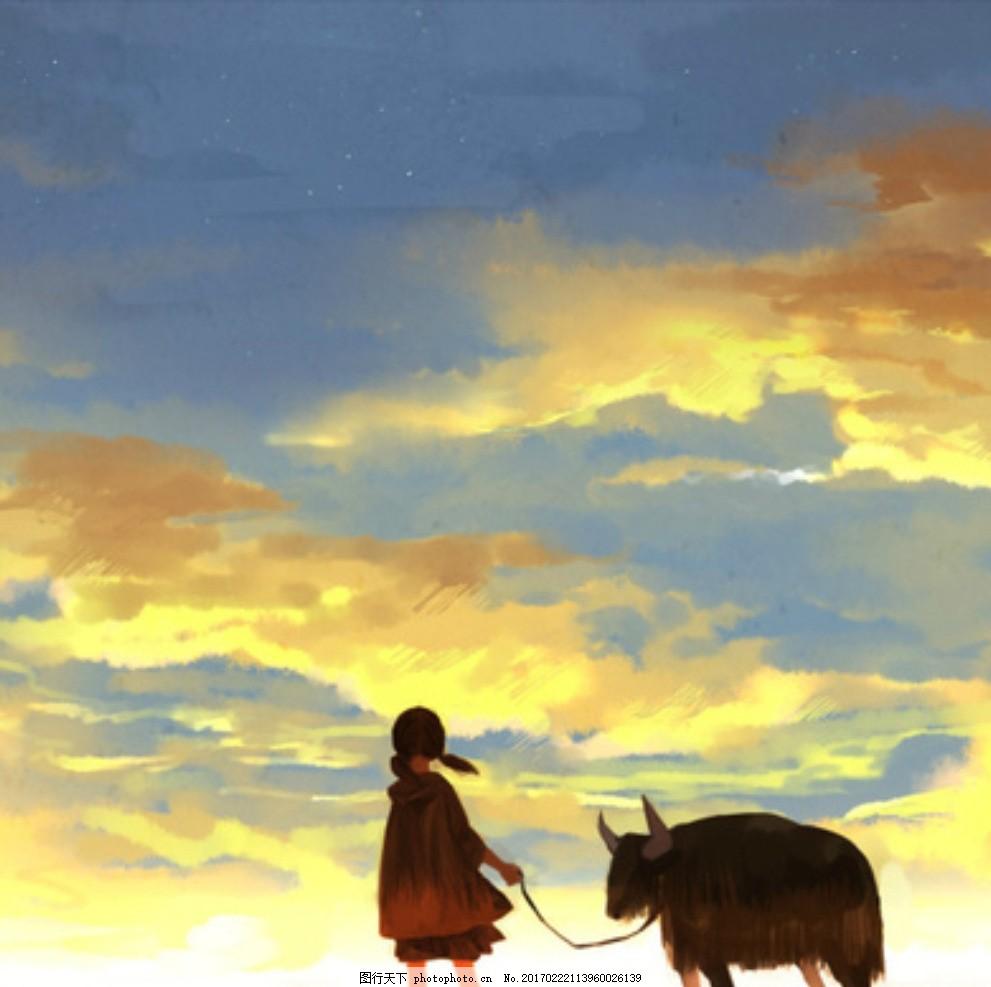 天空和小女孩 动物 夕阳 动漫动画 动漫人物