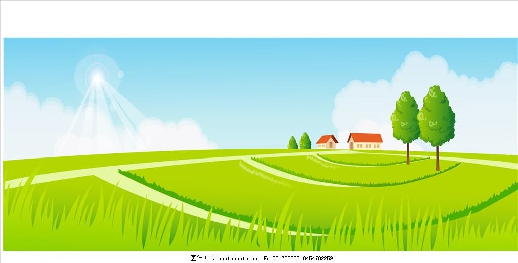 韩式可爱卡通 春天矢量图 绿色卡通背景 矢量背景素材 动漫动画 风景