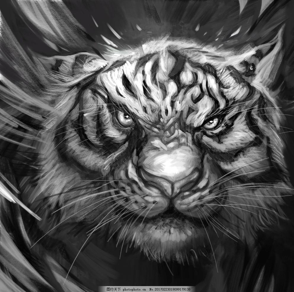 手绘老虎 黑白老虎 老虎头 素描老虎头 抽象老虎