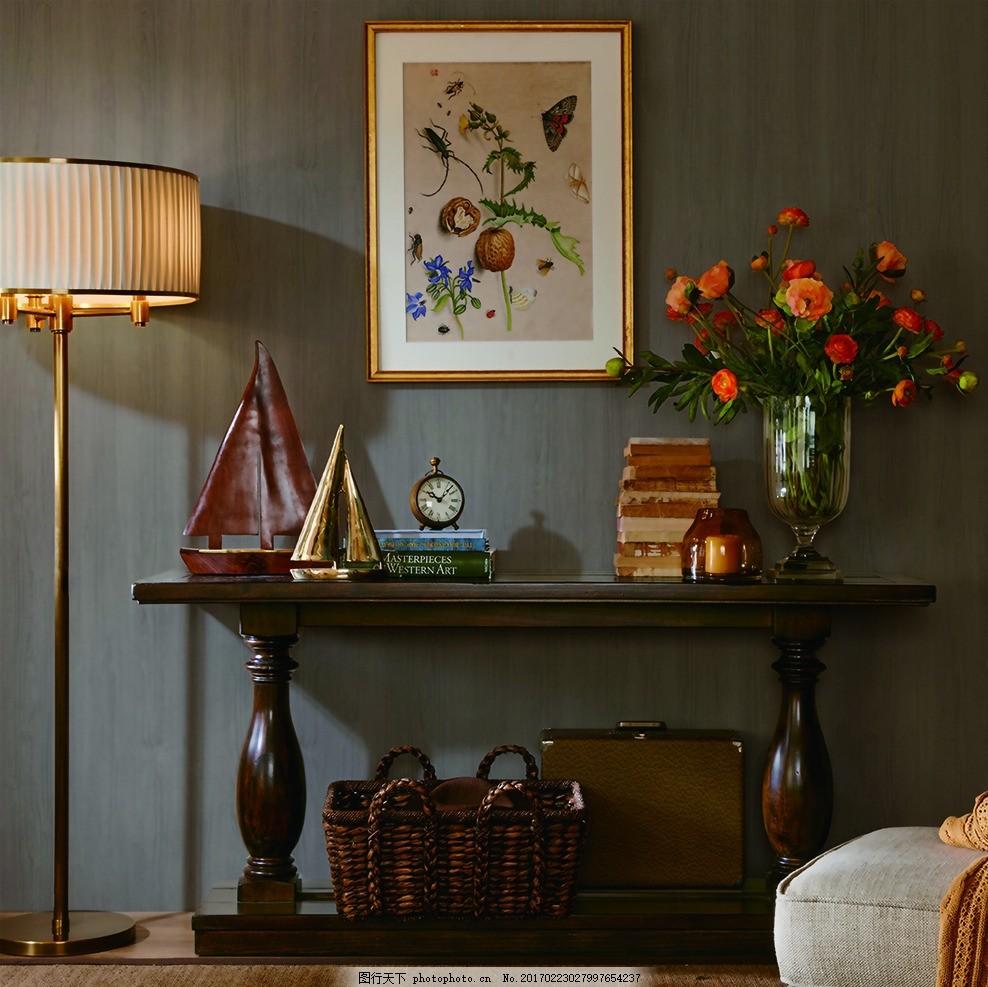 家具展示 欧式 简欧风格家具 真皮椅子 摆件 花瓶 壁画 设计图片