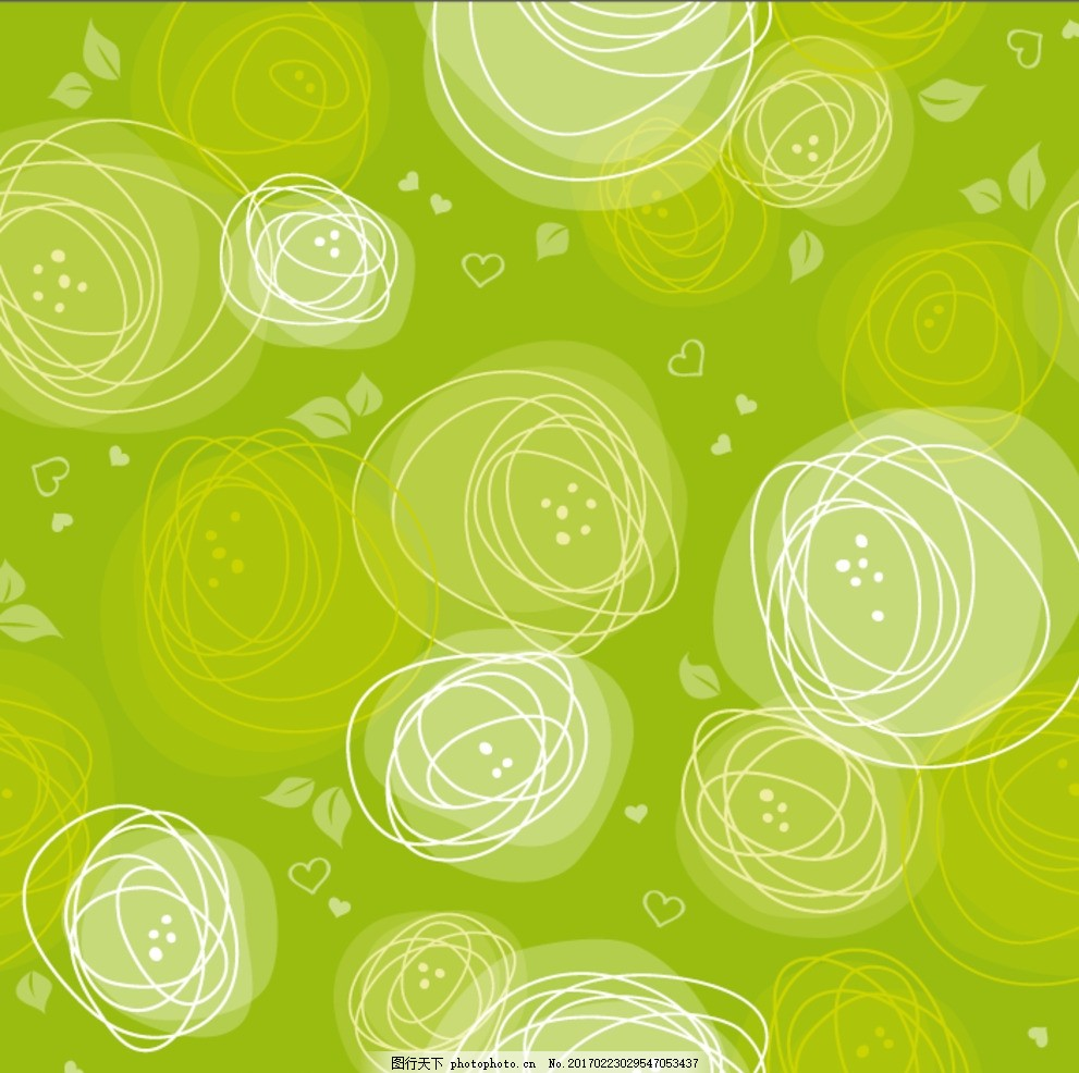 涂鸦 线条 背景 彩绘 花朵 绿色 玫瑰 矢量背景 矢量素材 植物 爱心