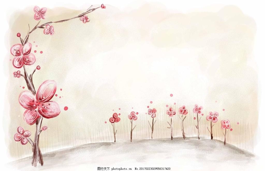 花朵背景墙 手绘桃花插画 花草 唯美 韩国唯美桃花 一枝桃花 简约