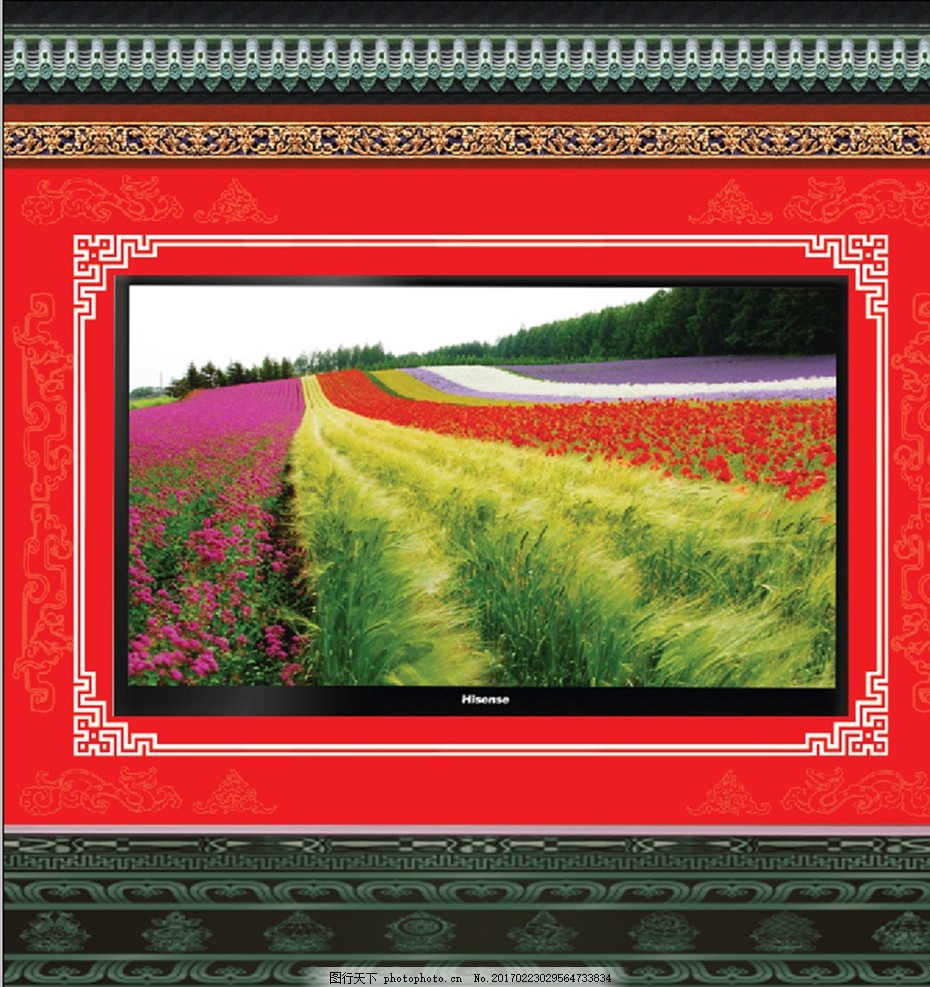 电视墙 影碑墙 古建筑 花纹图案 花边 花墙 宣传 展板 背景 设计 广告