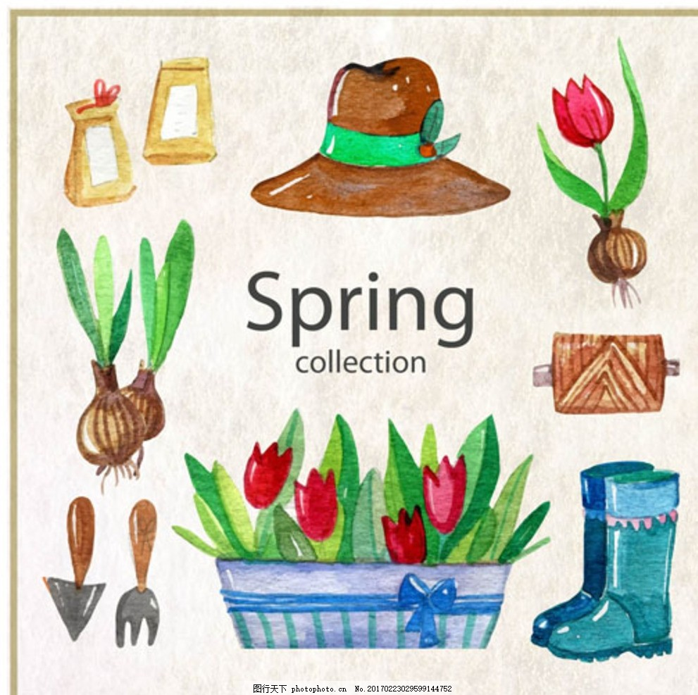 手绘水彩春季花卉种植元素 春暖花开 春季促销 春季促销海报 春季大