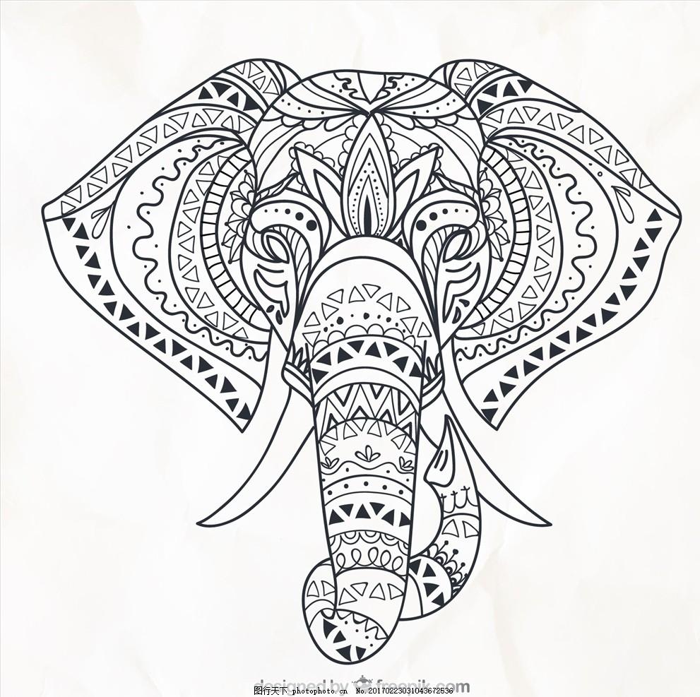 手绘大象图腾 大象 手绘 民族 图腾 复古 花纹 纹身 设计 广告设计