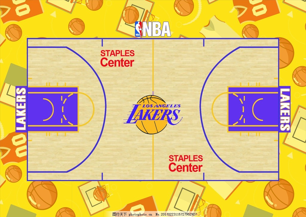 湖人队主背景 篮球 湖人 篮球场 球衣 nba 设计 广告设计 展板模板图片