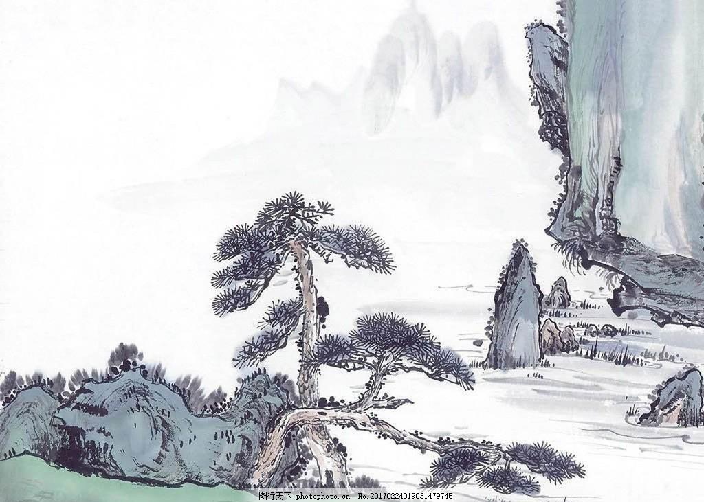 青松迎客 水墨 山水画 中国风 松树 山水 古代 传统 迎客 设计 文化
