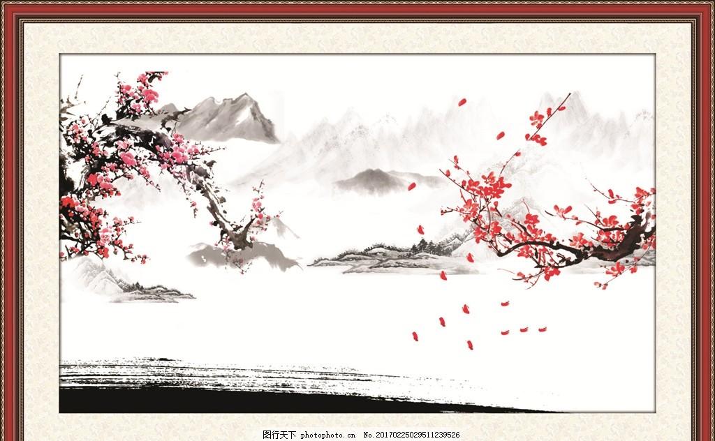 相框 画框 自然风景 江南水乡 水彩 水彩画 场景画 水彩风景 艺术绘画