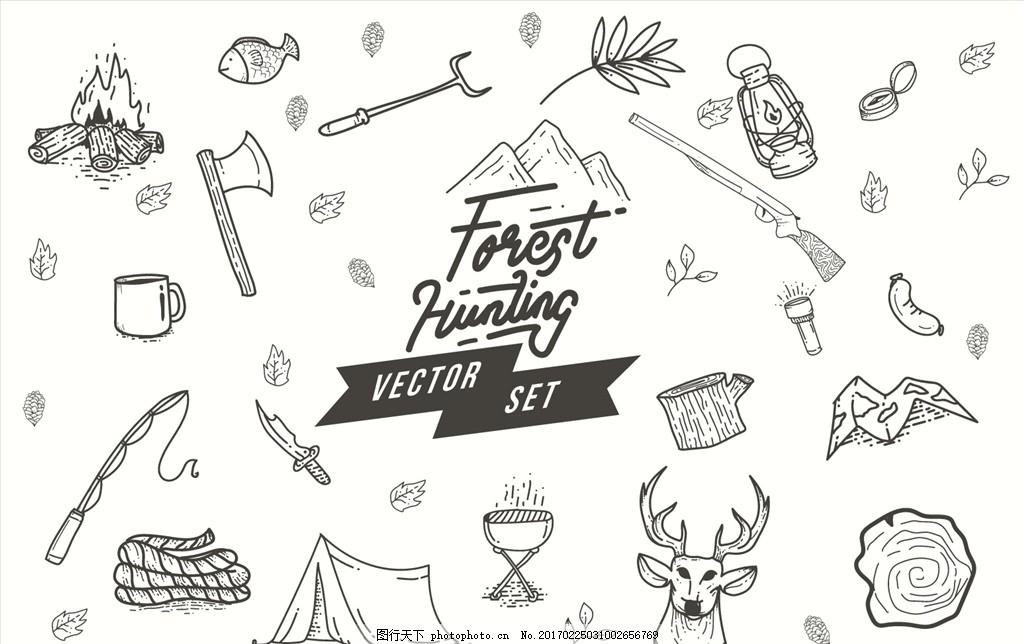 郊区登山野营图案 黑白 素描 手绘 线条 线稿 爬山 远足 攀登