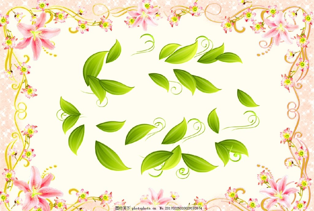 欧式花朵手绘树叶 精美花朵 花边花纹 手绘花朵 电视背景墙