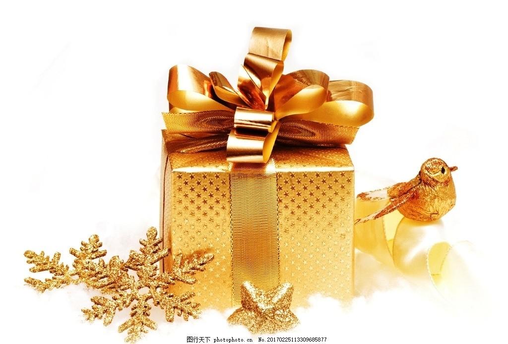礼物盒 圣诞礼物 金色丝带 圣诞装饰 饰物类 摄影 生活百科 生活素材