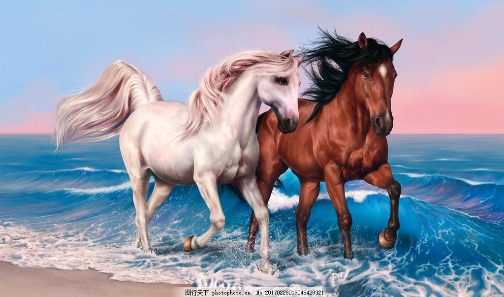 骏马绘画 马匹 千里马 白云 蓝天 大海 奔马 艺术绘画