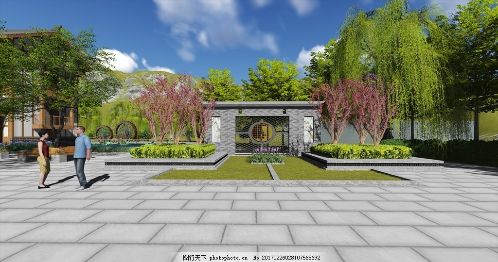中式景墙 中式 景墙 镂空 对称 植物 设计 环境设计 景观设计 1016dpi图片