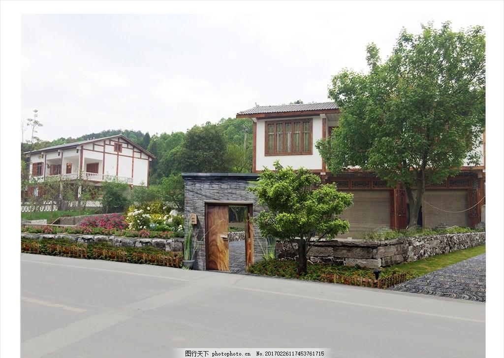 乡村庭院大门景观 乡村 庭院 大门 田园 景观 现代中式 设计 环境设计