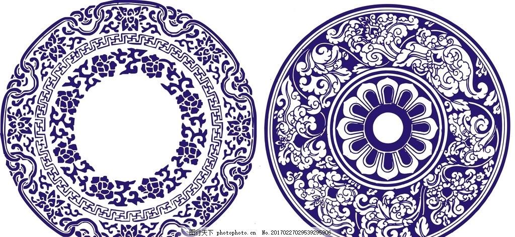 中式 花纹 复古 青花瓷 底纹 圆形 花藤 青花瓷花纹 花纹边框 青花瓷