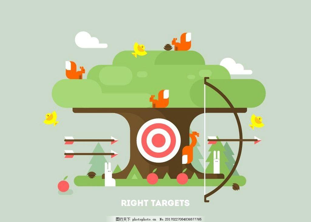 卡通扁平化树木 卡通 树 森林 绿色背景 树木房屋 图案素材 设计 广告