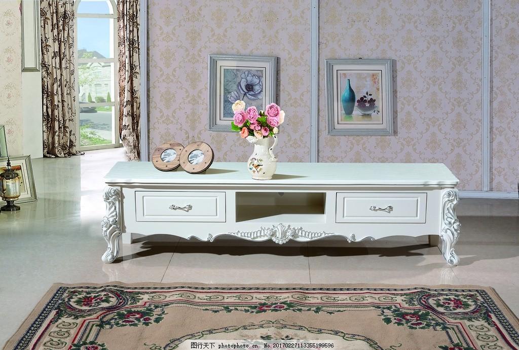 欧式白色电视柜 客厅家具