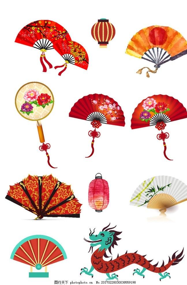 中国风矢量扇子