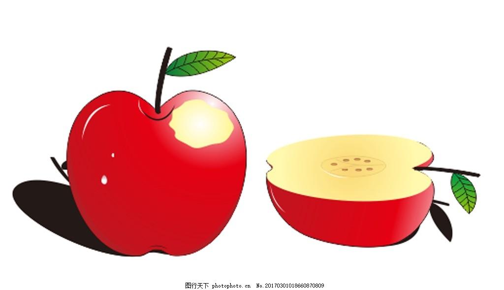 苹果 矢量图 卡通 水果 切开的苹果 动漫动画图片