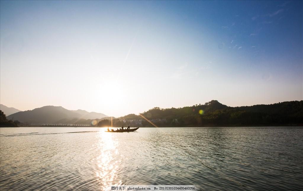千岛湖 山水 小船 夕阳 美景 摄影 自然景观 山水风景 300dpi jpg