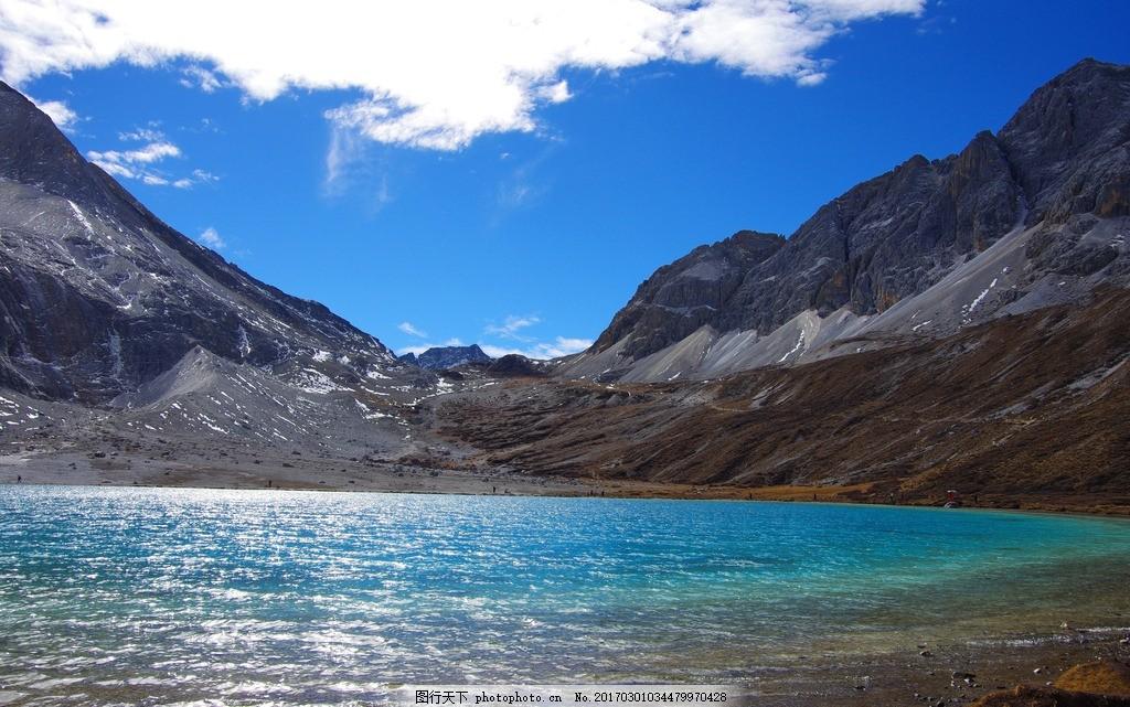 高山湖泊 藏区 高原 蓝天 白云 摄影 自然风景山水田园