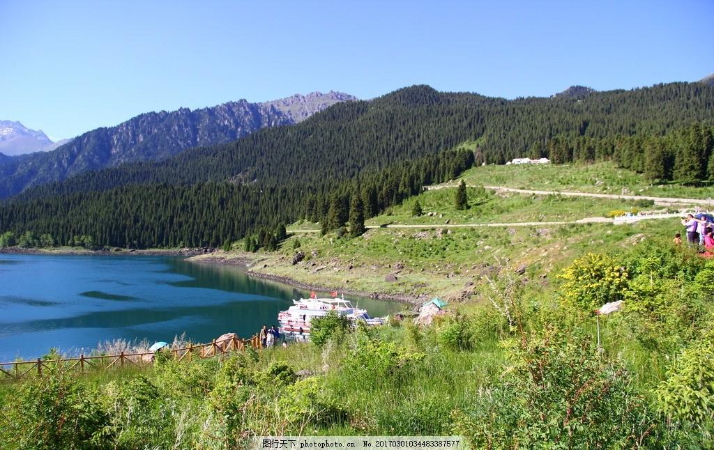 天山天池 天池 新疆天池 游船 游艇 天山天池 摄影 自然景观 山水风景
