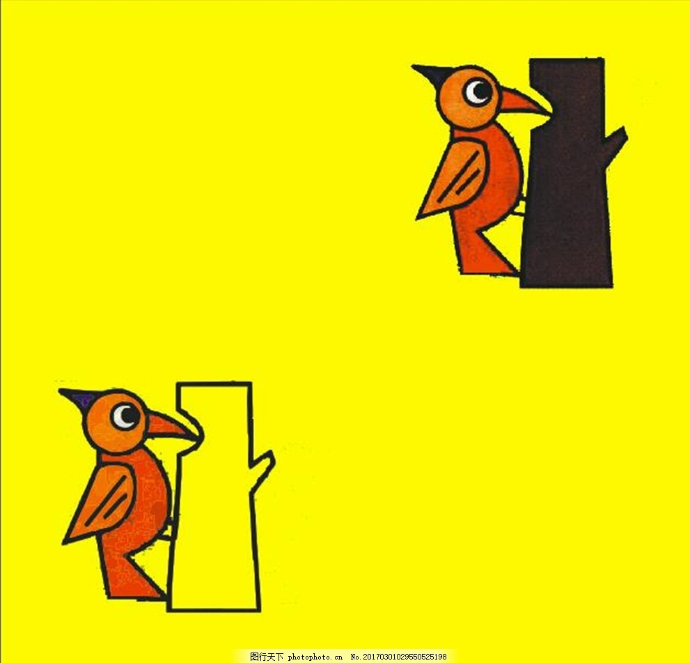 啄木鸟 鸟啄树 小鸟 卡通鸟 卡通小鸟 动画小鸟 动画鸟 动画鸟啄树