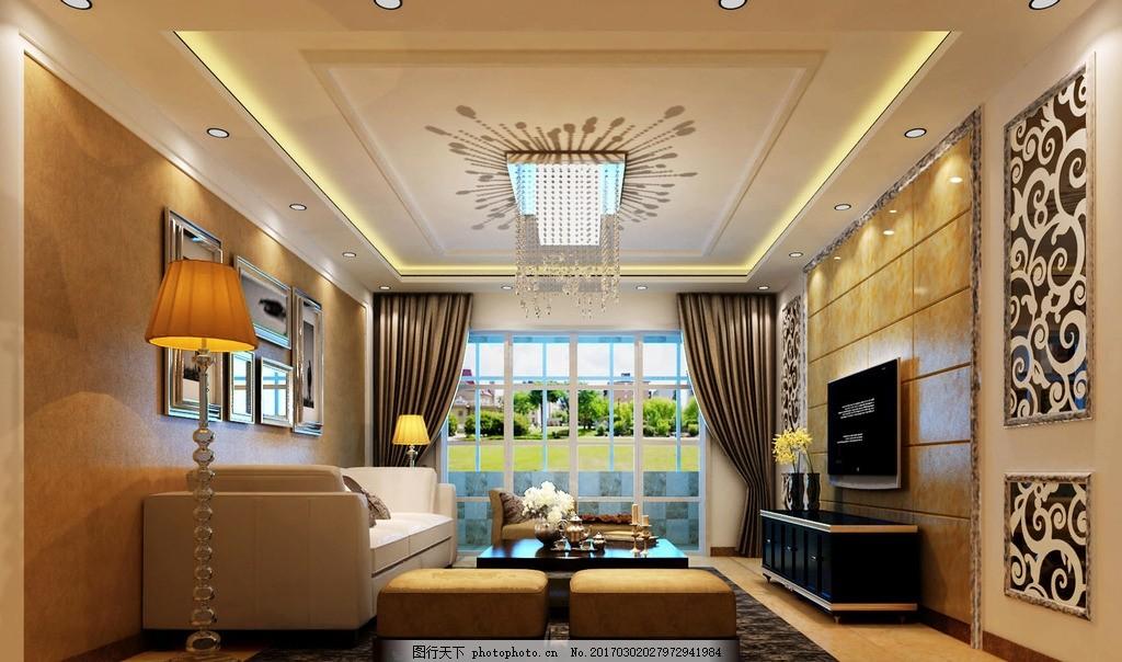现代客厅效果图 沙发 花格 吊顶 电视背景墙